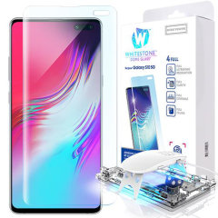 The Whitestone Dome Glass screen protector for Galaxy S10 5G uses a UV lamp with a proprietary UV adhesive installation to ensure a total and perfect fit for your device. Featuring 9H hardness for absolute protection, as well as 100% touch sensitivity.