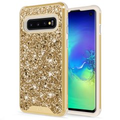 The Protective Stellar series for the Samsung Galaxy S10e. The gold glitter finish gives you protection for your phone in style. This case is made for pure luxury and style.