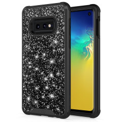 The Protective Stellar series for the Samsung Galaxy S10e. The black glitter finish gives you protection for your phone in style. This case is made for pure luxury and style.