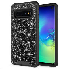 The Protective Stellar series for the Samsung Galaxy S10. The black glitter finish gives you protection for your phone in style. This case is made for pure luxury and style.
