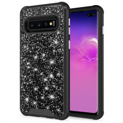 The Protective Stellar series for the Samsung Galaxy S10 Plus. The black glitter finish gives you protection for your phone in style. This case is made for pure luxury and style.