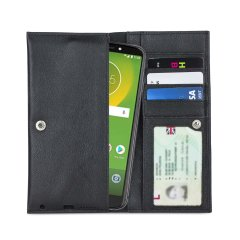 Crafted from premium quality genuine leather, with precision stitching and stud closure, and featuring a luxurious soft lining, document pockets and card slots, the Primo Wallet for the Motorola Moto E5 Supra will protect your phone in style.