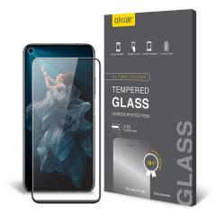 Deze ultradunne schermcover van gehard glas voor de Honor 20 met zwarte voorkant van Olixar biedt stevigheid, hoge zichtbaarheid en gevoeligheid in één pakket.