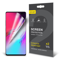 Keep your Samsung Galaxy S10 5G screen in pristine condition with this Olixar scratch-resistant screen protector 2-in-1 pack.