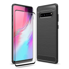 Flexible rugged casing with a premium matte finish non-slip carbon fibre and brushed metal design, the Olixar Sentinel case in black keeps your Samsung Galaxy S10 5G protected from 360 degrees with the added bonus of a tempered glass screen protector.