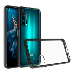 Custom moulded for the Huawei Honor 20 Pro. This black and clear Olixar ExoShield tough case provides a slim fitting stylish design and reinforced corner shock protection against damage, keeping your device looking great at all times.