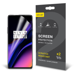 Keep your OnePlus 7 Pro 5G screen in pristine condition with this Olixar scratch-resistant screen protector 2-in-1 pack.