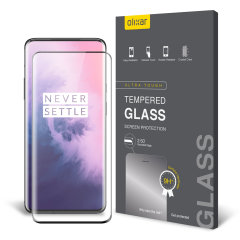 This ultra-thin tempered glass full cover screen protector for the OnePlus 7 5G from Olixar with black front offers toughness, high visibility and sensitivity all in one package.