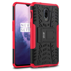 Protect your OnePlus 7 from bumps and scrapes with this red ArmourDillo case from Olixar. Comprised of an inner TPU case and an outer impact-resistant exoskeleton, with a built-in viewing stand.