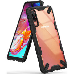 Keep your Samsung Galaxy A70 protected from bumps and drops with the Rearth Ringke Fusion X tough case in Black. Featuring a 2-part, Polycarbonate design, this case lives up to military drop-test standards so you can rest assured that your device is safe