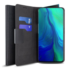 The Olixar leather-style Oppo Reno 5G Wallet Case in black attaches to the back of your phone to provide enclosed protection and can also be used to hold your credit cards. So leave your regular wallet at home when you need to travel light.