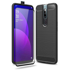 Flexible rugged casing with a premium matte finish non-slip carbon fibre and brushed metal design, the Olixar Sentinel case in black keeps your Oppo F11 Pro protected from 360 degrees with the added bonus of a tempered glass screen protector.
