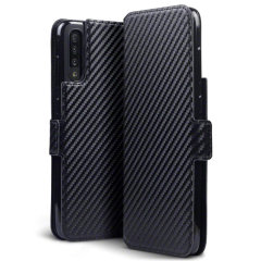 All the benefits of a wallet case but far more streamlined. The Olixar Carbon Fibre Textured Low Profile in black is the perfect partner for the the Samsung Galaxy A70 owner on the move. What's more, this case transforms into a handy stand to view media.