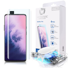 The Whitestone Dome Glass screen protector for OnePlus 7 Pro uses a UV lamp with a proprietary UV adhesive installation to ensure a total and perfect fit for your device. Featuring 9H hardness for absolute protection, as well as 100% touch sensitivity.