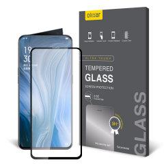 Deze ultradunne schermcover van gehard glas voor de Oppo Reno 5G met zwarte voorkant van Olixar biedt stevigheid, hoge zichtbaarheid en gevoeligheid in één pakket.