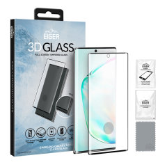 Introducing the ultimate in screen protection for the Samsung Galaxy Note 10, the 3D Glass by Eiger is made from premium real glass with rounded edging and anti-shatter film.