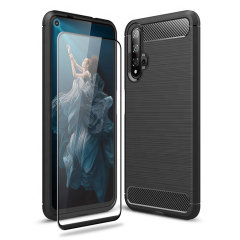 Olixar Sentinel Huawei Honor 20 Case & Glass Screen Protector - Black
