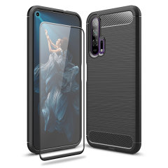 Flexible rugged casing with a premium matte finish non-slip carbon fibre and brushed metal design, the Olixar Sentinel case in black keeps your Honor 20 Pro protected from 360 degrees with the added bonus of a tempered glass screen protector.