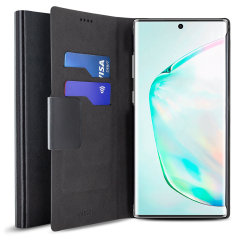 Protect your Samsung Galaxy Note 10 Plus with this durable and stylish black wallet leather-style case by Olixar. What's more, this case transforms into a handy stand to view media.