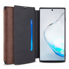 Protect your Samsung Galaxy Note 10 with this durable and stylish Brown canvas case by Olixar. What's more, for convenience this case transforms into a stand to view media and includes a card slot.