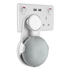 The Olixar Google Home Mini universal wall mount is compatible with UK, EU & US models. Designed to  hide all wires neatly and plug in different areas of your house or office without any hassle of the wires tangling up.