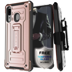 The Samsung Galaxy A20 Iron Armor 2 case in Rose Gold from Ghostek provides your Samsung Galaxy A20 with fantastic all-around protection. The Iron Armor 2 comes with a 9H tempered glass screen protector to ensure maximum all-round protection everyday.