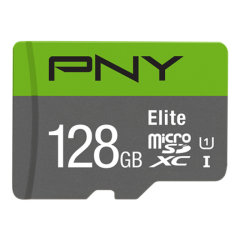 The PNY Elite performance Class 10, UHS-I, U1 128GB microSD Flash Memory card is perfect for the latest smartphones, tablets, action cameras, drones and more.