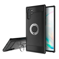 Made for the Samsung Galaxy Note 10 Plus, this tough black and silver ArmaRing case from Olixar provides extreme protection and a finger loop to keep your phone in your hand, whether from accidental drops or attempted theft. Also doubles as a stand.