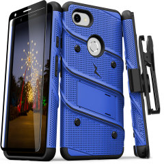 Equip your Google Pixel 3A with military grade protection and superb functionality with the ultra-rugged Bolt case in blue and black from Zizo. Coming complete with a handy belt clip and integrated kickstand.