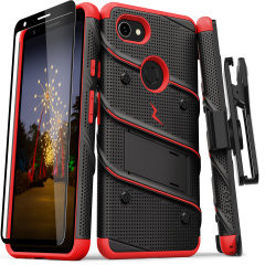 Equip your Google Pixel 3A XL with military grade protection and superb functionality with the ultra-rugged Bolt case in red and black from Zizo. Coming complete with a handy belt clip and integrated kickstand.