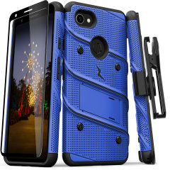 Equip your Google Pixel 3A XL with military grade protection and superb functionality with the ultra-rugged Bolt case in blue and black from Zizo. Coming complete with a handy belt clip and integrated kickstand.