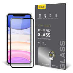 This ultra-thin tempered glass full cover screen protector for the Apple iPhone 11R from Olixar with black front offers edge to edge toughness, high visibility and sensitivity all in one package.
