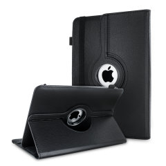"This stylish black leather style folio case from Olixar will protect your 8"" Android & Apple tablets from all kinds of knocks. Featuring a unique mechanism for 360 degree rotation."