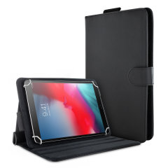 "This Olixar Leather-Style Case in black provides all round protection for your 9-10"" Android or Apple tablet. Featuring a built-in media viewing, in addition to convenient hand and shoulder straps for portability."