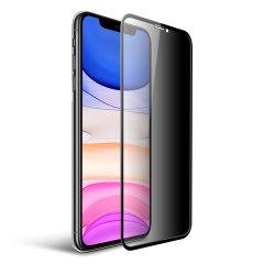 La protection d'écran en verre trempé Olixar Privacy préserve l'écran de votre iPhone 11 en parfait état. Elle couvre celui-ci de bord à bord tout en lui assurant une grande robustesse, une clarté optimale et un excellent répondant au toucher tactile. De plus, cette protection d'écran comprend un filtre de confidentialité, pratique pour garder un contenu sensible à l'abri des regards indiscrets.
