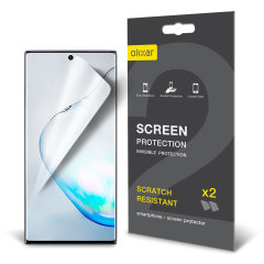 Keep your Samsung Galaxy Note 10 screen in pristine condition with this Olixar scratch-resistant screen protector 2-in-1 pack.
