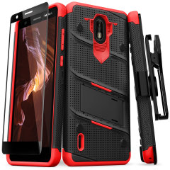Equip your Nokia 3.1 C with military-grade protection and superb functionality with the ultra-rugged Bolt case in black and red from Zizo. Coming complete with a handy belt clip and integrated kickstand.