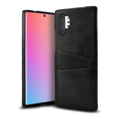 Designed for the Samsung Galaxy Note 10 Plus 5G, this black executive leather-style case from Olixar provides a perfect fit and durable protection against scratches, knocks and drops with the added convenience of 2 RFID protected credit card-sized slots.