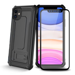 Equip your iPhone 11 with a 360 degree protection with this new black Olixar Manta case & glass screen protector bundle. Enjoy a built-in kickstand designed for media viewing, whilst also compliments the case's futuristic & rugged military design.