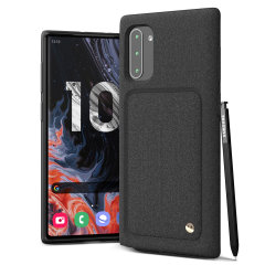 Protect your Note 10 with this precisely designed High Pro Shield case in Sand Stone from VRS Design. Made with tough yet slim material, this hard-shell construction with soft core features patented sliding technology to store two credit cards or ID.