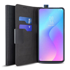The Olixar leather-style Xiaomi Mi 9T Wallet Case in black attaches to the back of your phone to provide enclosed protection and can also be used to hold your credit cards. So leave your regular wallet at home when you need to travel light.