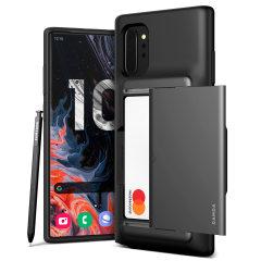 Protégez votre Samsung Galaxy Note 10 Plus 5G à l'aide de la coque VRS Design Damda Glide Shield en coloris noir et effet acier. Fabriquée à partir d'un matériau résistant et mince, elle fournit à votre appareil une protection robuste grâce à sa structure interne souple. De plus, sa technologie brevetée à glissement vous permet de ranger facilement jusqu'à deux cartes (type carte bancaire).