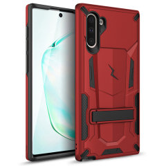 Protect your Samsung Galaxy Note 10 from bumps and scrapes with this Red/Black Zizo Transform case. Comprised of an inner TPU case and an outer impact-resistant shell, the Zizo Hybrid Transformer Case offers a sturdy and robust protection for your phone.