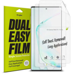 The New 4 Layer Dual Easy Full Coverage Screen Protector from Rearth Ringke for your Samsung Galaxy Note 10 is made to allow easier installation: adhere the protective film onto your phone screen for an effortless and flawless finish.