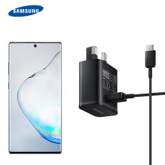 A genuine Samsung UK adaptive fast mains charger for your USB-C Samsung Galaxy Note 10 phone.  With folding pins for travel convenience and a genuine Samsung USB-C charging cable. Retail packed.