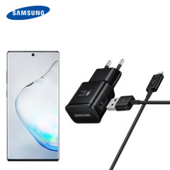 A genuine Samsung EU Adaptive Fast mains charger wall plug with USB-C cable in black for the Samsung Galaxy Note 10. This official Retail Packed charger and cable can charge your smartphone at rapid rates so you are always ready for action.