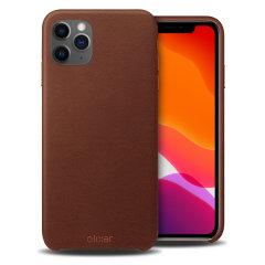 Olixar Genuine Leather iPhone 11 Pro Max Case - Brown