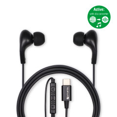 Enjoy crystal clear high quality music with these 4smarts Active In-Ear Type-C Headphones in black. These 4smarts headphones have a type-c connectivity and are compatible with all type-c devices including the Samsung Galaxy Note 10 range.