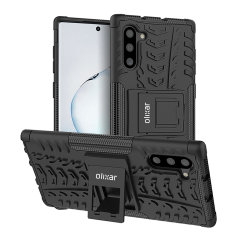 Protect your Samsung Galaxy Note 10 from bumps and scrapes with this black ArmourDillo case from Olixar. Comprised of an inner TPU case and an outer impact-resistant exoskeleton, with a built-in viewing stand.
