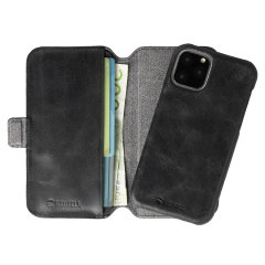 Krusell's 2-in-1 Sunne Wallet case in Vintage Black combines Nordic chic with Krusell's values of sustainable manufacturing for any iPhone 11 Pro owner who wants an elegant genuine leather accessory with extra storage for cash and cards.